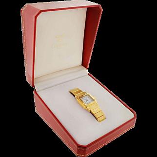 Cartier 18K 750 Gold Santos Ladies Automatic Watch 1979 Orig Receipt One Owner
