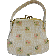 Vintage 1950's beaded purse off white with beige and pink green design