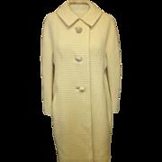 Vintage 1950's Zelink Matlick off white Wool Light Wool Coat for Sarah Fredericks Small/Medium