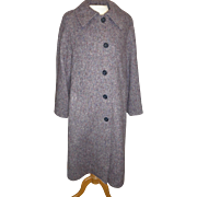 "Vintage ""The Wool Shop"" Hourihan by Jimmy Hourihan of Dublin woman's Donegal Tweed coat purple gray maroon size 10/12"