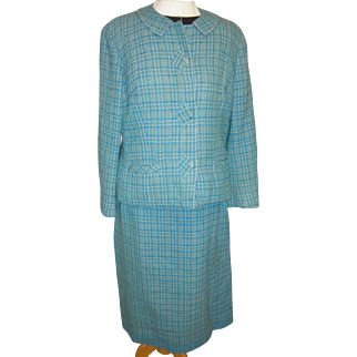 Vintage turquoise tweed women's suit Tailorbrook for R. H. Sterns lined small size