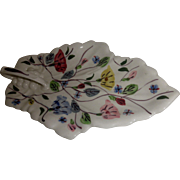 Blue Ridge Southern Potteries vintage leaf celery dish in the Chintz pattern hand painted
