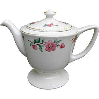 Vintage Homer Laughlin 1947 tea pot Apple Blossom pattern ivory with pink blossoms Liberty shape
