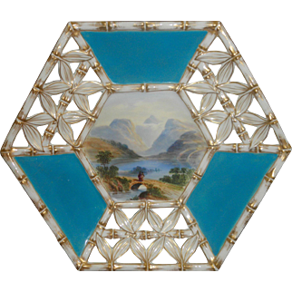 "Antique reticulated hand painted lake mountain bridge scene 8 1/2"" by 9"" turquoise white gold cabinet plate"