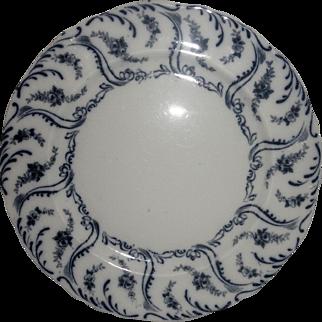 "Antique Adderley flow blue 10"" dinner place "" Constance"" white with dark blue '"