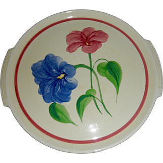 "Vintage Cronin China Co. Pottery Guild of America 12"" hand painted cake plate floral cream with blue pink green"