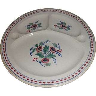 """Antique Crescent & Sons England cream red blue green floral """"The Nettles' three section iron stone plate"""