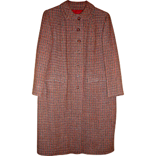 vintage Harris Tweed women's coat orange red blue gray size m or l fresh from dry cleaner