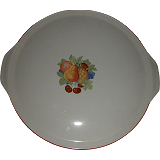 "vintage 13"" platter with handles Universal Potteries Cambridge oven proof fruit decal"