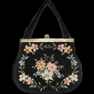 """Vintage handbag black needlepoint floral 10"""" by 8"""" gold tone embossed frame"""