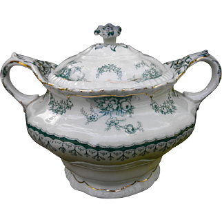 Antique John Maddock & Sons LTD Royal Vitreous Sugar Bowl with Lid Warwick pattern excellent condition white & green