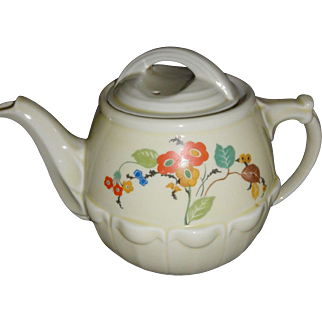 Vintage Hall Drip-O-Lator coffee pot with lid The Enterprise Alluminum Co. off white poppy flowers