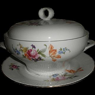Vintage JLMenua German Democratic Republic large soup tureen with underplate Dresden Flowers pattern