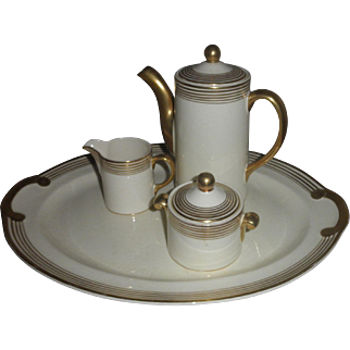"""Vintage 1934 Taylor Smith Taylor Premier Chocolate Pot Sugar Bowl Creamer and 15"""" Platter Ivory with Gold Bands Art Deco"""