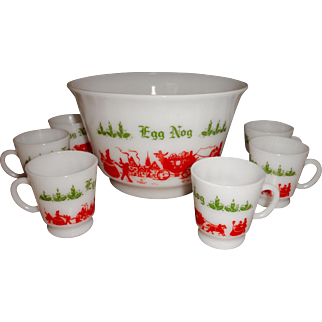 Vintage Hazel Atlas milk glass punch bowl with six cups Egg Nog Christmas Holiday white with green and red