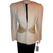 Vintage Black Tie II by Oleg Cassini white wool gold and silver beading has original tags still on