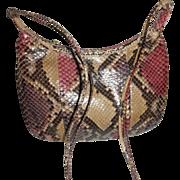 Vintage Morris Moskowitz snakeskin leather shoulder bag browns and reds