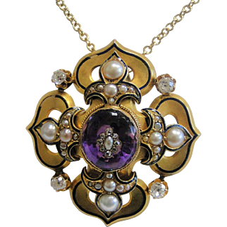 Vintage 18 Karat Yellow Gold Necklace and 14k Diamond and Amethyst Brioche with Diamonds and Cultured Pearls Pendant
