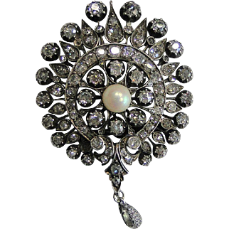 VIctorian Antique Gold Silver Top Diamond Natural Saltwater Pearl Brooch Pendant