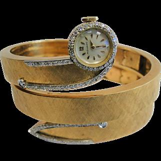 14k Yellow Gold Vintage Movado Diamond Watch Bracelet