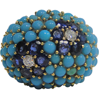 14k Diamond Blue Sapphire and Turquoise Ring
