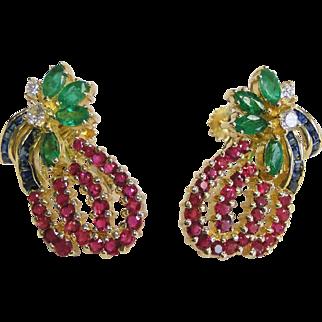 14 Karat Yellow-Gold Diamond Ruby, Sapphire and Emerald Earrings