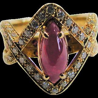 Diamond & Ruby 0.81 Carat 1.96 Ruby 18K Ring