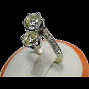 Two Stone Fancy Color GIA Diamond 10k Ring