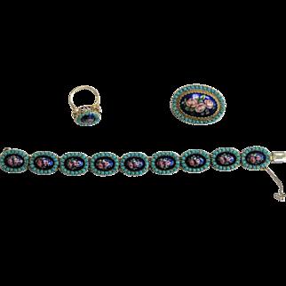 Vintage 18k Turquoise  Enamel Set