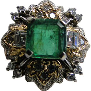 Platinum And 18K Yellow Gold 2.30 Ct Emerald And 0.81 Ct Diamond Ring Size 6.25