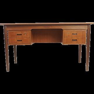 """Four Drawer Teak Desk - Open Back - """"Gitte"""""""