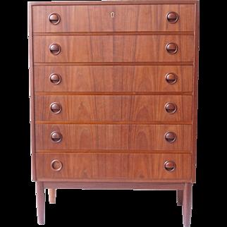 Vintage Danish Tall Boy 6 Drawer Teak Wood Dresser