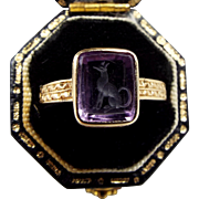 Antique Edwardian 14ct Gold Carved Amethyst Intaglio Greyhound Dog Ring Size Q 1/2