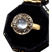 Antique Victorian 9ct Yellow Gold Moonstone and Rose Cut Diamonds Ring / Size L