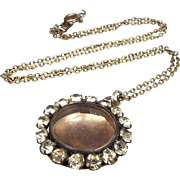 Victorian Gold Gilt Paste Halo Glass Front Circular Locket Pendant Necklace