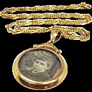 Antique Edwardian 9ct Yellow Gold Ornate Double Glass Locket Pendant Necklace
