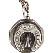 Antique 1868 Victorian Sterling Silver Aesthetic Lucky Horseshoe Locket Necklace