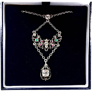 Antique Georgian Sterling Silver Paste Emerald Ruby Butterfly Pendant Necklace