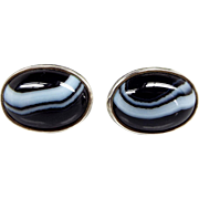 Vintage 1989 Sterling Silver Scottish Banded Agate Cabochon Stud Earrings 925
