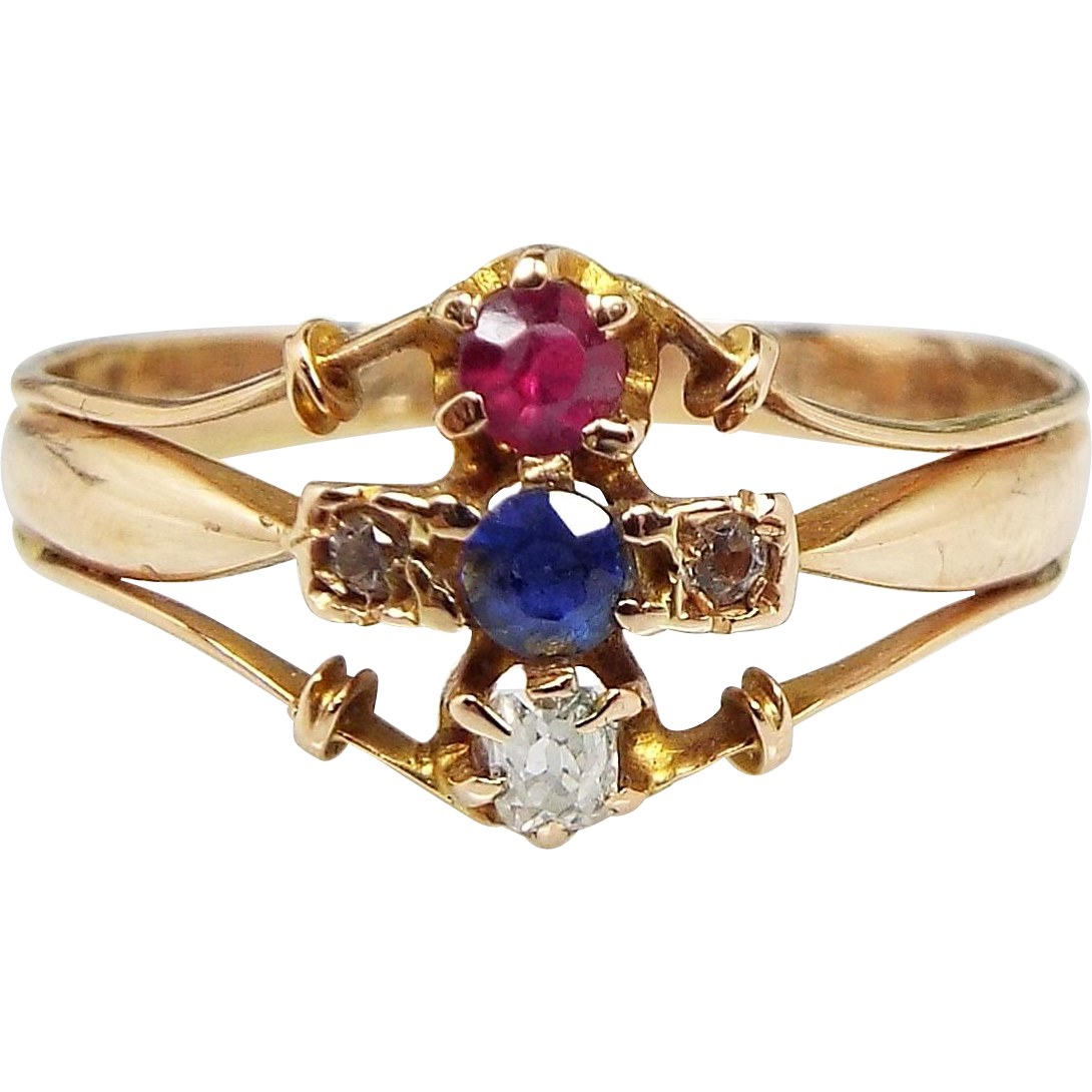 Antique / Victorian 18ct Gold Ruby Sapphire and Mine Cut Diamond Ring / Size P