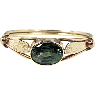 Antique Victorian 9ct Gold Beautiful Teal Green Sapphire Delicate Leaf Ring / Size R 1/2