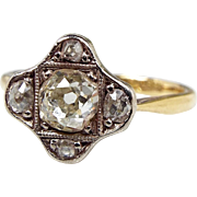 Antique Edwardian 18ct Yellow Gold 0.59 Carat Diamond Cluster Ring / Size M 1/2