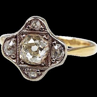 Antique Edwardian 18ct Yellow Gold 0.59 Carat Diamond Cluster Ring / Size M 1/2