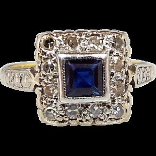 Antique Edwardian Art Deco 18ct Gold and Platinum Diamond & Sapphire Ring Size Q