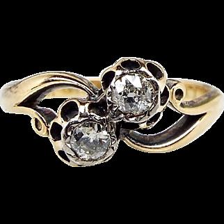 Antique Edwardian 18ct Gold Toi et Moi Double Diamond Crossover Ring / Size L