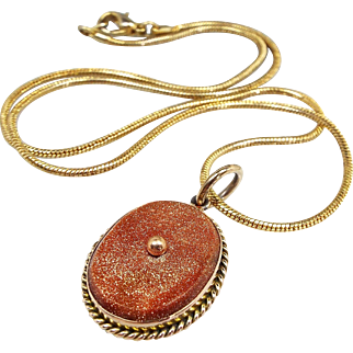 Antique / Edwardian 9ct Yellow Gold Goldstone Plaque Target Pendant Necklace
