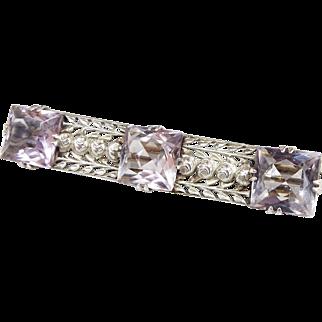 Antique / Edwardian Ornate Light Purple Amethyst Sterling Silver Bar Brooch 925