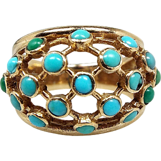 Vintage 1923 Art Deco 9ct Yellow Gold Domed Turquoise Statement Ring / Size N