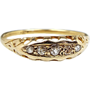 Antique Edwardian 18ct Yellow Gold 5 Diamond Boat Half Eternity Ring Size R 1/2