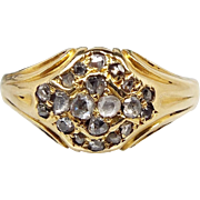 Antique Georgian 18ct Yellow Gold Pave Rose Cut Diamond Cluster Ring / Size Q
